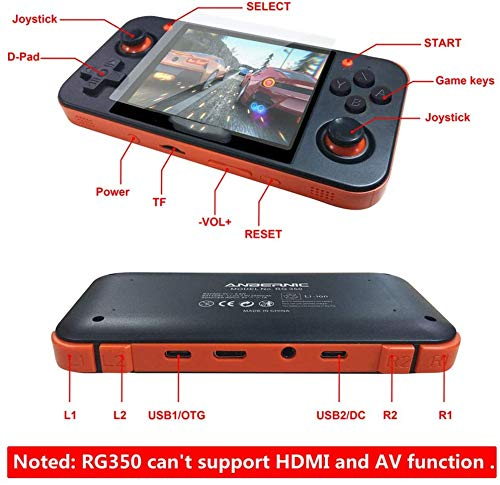 Morza RG350 3.5 Pulgadas Retro Gamepad Consola de Juegos de actualizaci/ón de Video port/átil con Capacidad incorporada 16GB Grey